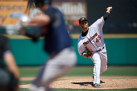 Rochester Red Wings starting pitcher David Hurlbut (45) during a game against the Scranton/Wilkes-Barre RailRiders on June 7, 2017 at Frontier Field in Rochester, New York.  Scranton defeated Rochester 5-1.  (Mike Janes/Four Seam Images)