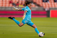 HOUSTON, TX - JANUARY 28: Noelia Bermudez #1 of Costa Rica takes a goal kick during a game between Costa Rica and Panama at BBVA Stadium on January 28, 2020 in Houston, Texas.