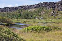 Almannagjá, Almannagja, Allmännerschlucht, Allmänner-Schlucht, Schlucht im Nationalpark Þingvellir, Þingvellir, Pingvellir, Thingvellir, Þingvellir-Nationalpark, Pingvellir-Nationalpark, Grabenbruchzone im Grenzbereich zweier tektonischer Platten. Þingvellir National Park, Iceland