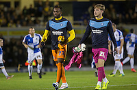Gozi Ugwu of Wycombe Wanderers & Alex Lynch of Wycombe Wanderers head across field to the bench during the Johnstone's Paint Trophy match between Bristol Rovers and Wycombe Wanderers at the Memorial Stadium, Bristol, England on 6 October 2015. Photo by Andy Rowland.