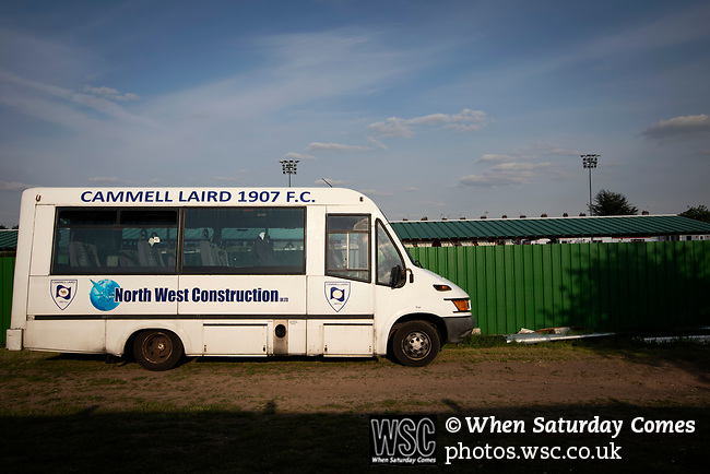 The visiting team's bus outside Yockings Park before Whitchurch Alport hosted Cammell Laird 1907 in the 2017-18 North West Counties Division One play-off final. Alport were formed in 1946 and were named after Alport Farm, Whitchurch, which had been the home of a local footballer Coley Maddocks who had been killed in action in the war. The home team won the match 2-1 watched by a crowd of 733, a club record attendance.