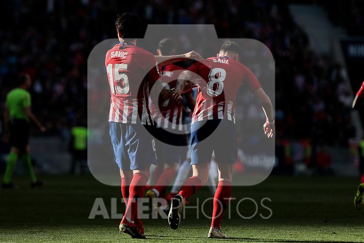 Atletico de Madrid's Stefan Savic (L) and Saul Niguez (R) celebrate goal during La Liga match between Atletico de Madrid and CD Leganes at Wanda Metropolitano stadium in Madrid, Spain. March 09, 2019. (ALTERPHOTOS/A. Perez Meca)