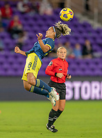 ORLANDO, FL - JANUARY 18: Jessica Caro #8 of Colombia heads the ball during a game between Colombia and USWNT at Exploria Stadium on January 18, 2021 in Orlando, Florida.