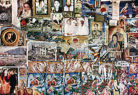 A wall full of Pakistan history, including many images of Benazir Bhutto. In Baltistan province, Karakoram mountains. Pakistan.