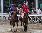 August 07, 2021: Swiss Skydiver #3, ridden by jockey Irad Ortiz Jr. in the post parade before the Grade 1 Whitney Stakes at Saratoga Race Course in Saratoga Springs, N.Y. on August 7, 2021. Robert Simmons/Eclipse Sportswire/CSM