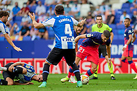 12th September 2021: Barcelona, Spain:  Yannick Carrasco of Atletico de Madrid skips a tackle and covered by Leandro Cabrera during the Liga match between RCD Espanyol and Atletico de Madrid at RCDE Stadium in Cornella, Spain.