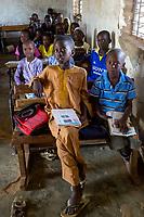 Senegal, Touba.  Boys  and Girls at Al-Azhar Madrasa, a School for Islamic Studies.