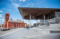 Thursday 18 May 2017<br /> Pictured: A view of the Pierhead building and the 'Senedd', the Welsh Assembly Building in Cardiff Bay, Cardiff. <br /> Re: Former Welsh first minister Rhodri Morgan has died, aged 77. Rhodri Morgan was elected as an MP in 1987 and became an AM when the assembly was created in 1999.