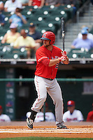 Louisville Bats right fielder Scott Schebler (12) at bat during a game against the Buffalo Bisons on June 23, 2016 at Coca-Cola Field in Buffalo, New York.  Buffalo defeated Louisville 9-6.  (Mike Janes/Four Seam Images)