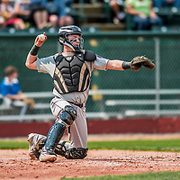 4 September 2017: Tri-City ValleyCats catcher Michael Papierski in action during the first game of a double-header against the Vermont Lake Monsters at Centennial Field in Burlington, Vermont. The ValleyCats split their games, winning 6-5 in the first, then dropping the second 7-4 to the Lake Monsters in NY Penn League action. Mandatory Credit: Ed Wolfstein Photo *** RAW (NEF) Image File Available ***
