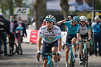 Alexey Lutsenko (KAZ/Astana - Premier Tech) post-race atop the infamous Mur de Huy<br /> <br /> 85th La Flèche Wallonne 2021 (1.UWT)<br /> 1 day race from Charleroi to the Mur de Huy (BEL): 194km<br /> <br /> ©kramon
