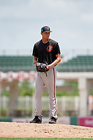 GCL Orioles relief pitcher Adam Stauffer (54) gets ready to deliver a pitch during a game against the GCL Red Sox on August 9, 2018 at JetBlue Park in Fort Myers, Florida.  GCL Red Sox defeated GCL Orioles 10-4.  (Mike Janes/Four Seam Images)