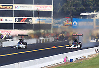 Sep 15, 2019; Mohnton, PA, USA; NHRA top fuel driver Mike Salinas (left) alongside Billy Torrence during the Reading Nationals at Maple Grove Raceway. Mandatory Credit: Mark J. Rebilas-USA TODAY Sports