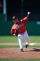Batavia Muckdogs relief pitcher Alex Vesia (44) delivers a pitch during a game against the Auburn Doubledays on September 2, 2018 at Dwyer Stadium in Batavia, New York.  Batavia defeated Auburn 5-4.  (Mike Janes/Four Seam Images)
