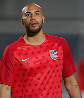 GEORGETOWN, GRAND CAYMAN, CAYMAN ISLANDS - NOVEMBER 19: John Brooks #5 of the United States warming up during a game between Cuba and USMNT at Truman Bodden Sports Complex on November 19, 2019 in Georgetown, Grand Cayman.