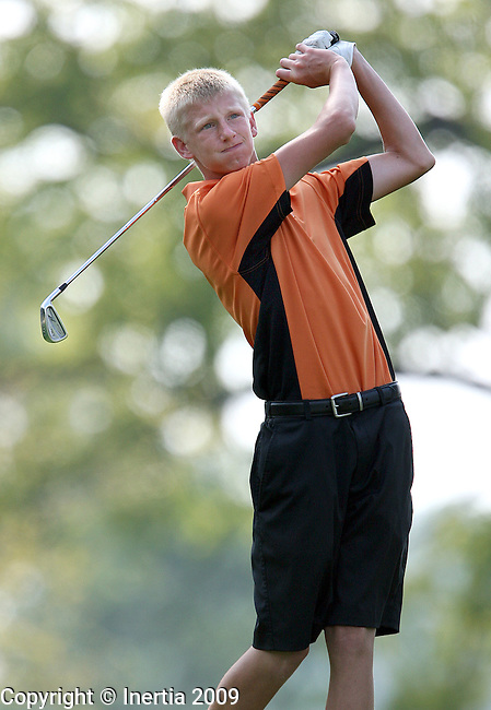 SIOUX FALLS, SD - SEPTEMBER 8:  Cory Willadsen of Sioux Falls Washington watches his tee shot on the second hole at Minnehaha Country Club in Sioux Falls during the second round of the boys city golf meet. (Photo by Dave Eggen/Inertia).