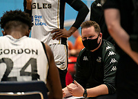 Ian MacLeod head coach of Newcastle Eagles at the time out during the BBL Championship match between Surrey Scorchers and Newcastle Eagles at Surrey Sports Park, Guildford, England on 20 March 2021. Photo by Liam McAvoy.