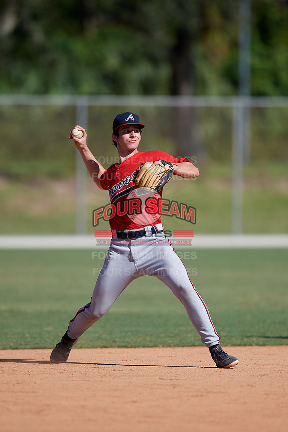 Brennan Milone during the WWBA World Championship at the Roger Dean Complex on October 21, 2018 in Jupiter, Florida.  Brennan Milone is a shortstop from Woodstock, Georgia who attends Woodstock High School and is committed to South Carolina.  (Mike Janes/Four Seam Images)