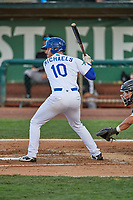 Nick Michaels (10) of the Ogden Raptors at bat against the Grand Junction Rockies at Lindquist Field on June 5, 2021 in Ogden, Utah. The Raptors defeated the Rockies 18-1. (Stephen Smith/Four Seam Images)