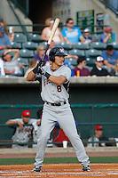 Hickory Crawdads outfielder Jose Cardona (8) at bat during a game against the Charleston RiverDogs at Joseph P. Riley Jr. Ballpark on May 2, 2015 in Charleston, South Carolina. Hickory defeated Charleston 4-1. (Robert Gurganus/Four Seam Images)