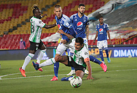 BOGOTA -COLOMBIA, 31-10-2020:Juan Pablo Vargas de Millonarios FC disputa el balón con Jefferson Duque del Atlético Nacional  durante partido entre Millonarios FC   y Atlético Nacional  por la fecha 17 de la Liga BetPlay DIMAYOR I 2020 jugado en el estadio estadio Nemesio Camacho El Campín de la ciudad de Bogotá. / Juan Pablo Vargas of Millonarios FC struggles the ball with Jefferson Duque of Atletico Nacional during match between Millonarios FC and Atletico Nacional for the date 17 BetPlay DIMAYOR League I 2020 played at Nemesio Camacho El Campin stadium in Bogota city. Photo: VizzorImage/ Felipe Caicedo / Staff