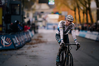 Mathieu van der Poel (NED/Corendon-Circus) crossing the finish line solo > once again proving to be the dominant rider of the pack<br /> <br /> men's race<br /> Soudal Jaarmarktcross Niel 2018 (BEL)