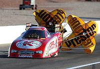 Mar 28, 2014; Las Vegas, NV, USA; NHRA funny car driver Jeff Arend during qualifying for the Summitracing.com Nationals at The Strip at Las Vegas Motor Speedway. Mandatory Credit: Mark J. Rebilas-