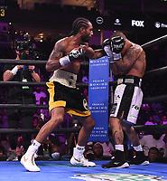 NEWARK, NJ - JULY 31: Karl Dargan (black/gold trunks) vs Ivan Delgado (white/black trunks) on the FS1 PBC Fight Night at Prudential Center on July 31, 2021 in Newark, New Jersey. (Photo by Frank Micelotta/Fox Sports/PictureGroup)