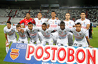 MANIZALES -COLOMBIA, 01-09-2013. Jugadores de Once Caldas posan para los fotógrafos antes del partido contra Alianza Petrolera válido por la fecha 8 de la Liga Postobón II 2013 jugado en el estadio Palogrande de la ciudad de Manizales./ Once Caldas players pose to the photographers before the match against Alianza Petrolera valid for the 8th date of the Postobon  League II 2013 at Palogrande stadium in Manizales city. Photo: VizzorImage/Yonboni/STR