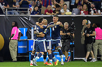 Houston, TX - Tuesday June 21, 2016: Lionel Messi celebrates scoring during a Copa America Centenario semifinal match between United States (USA) and Argentina (ARG) at NRG Stadium.