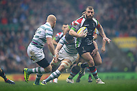 Joe Marler of Harlequins lines up Tom Homer of London Irish during the Aviva Premiership match between Harlequins and London Irish at Twickenham on Saturday 29th December 2012 (Photo by Rob Munro).