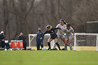LOUISVILLE, KY - MARCH 13: Lauren Milliet #2 of Racing Louisville FC and Maya Ladhani #16 of West Virginia University battle for possession during a game between West Virginia University and Racing Louisville FC at Thurman Hutchins Park on March 13, 2021 in Louisville, Kentucky.