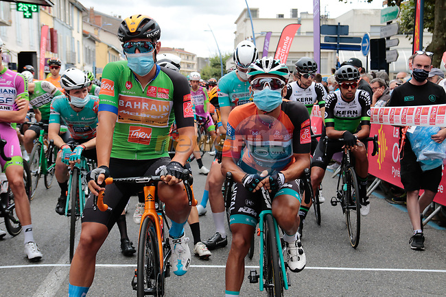 Masked Green jersey Sonny Colbrelli (ITA) Bahrain-McLaren and race leader Bryan Coquard (FRA) B&B Hotels-Vital Concept/KTM wait to start Stage 3 of the Route d'Occitanie 2020, running 163.5km from Saint-Gaudens to Col de Beyrède, France. 3rd August 2020. <br /> Picture: Colin Flockton | Cyclefile<br /> <br /> All photos usage must carry mandatory copyright credit (© Cyclefile | Colin Flockton)