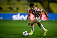 4th November 2020; Vicarage Road, Watford, Hertfordshire, England; English Football League Championship Football, Watford versus Stoke City; Jacob Brown (Stoke City) comes forward on the ball