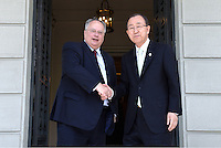 Pictured L-R: Foreign Affairs Minister Nikos Kotzias with Ban Ki-Moon at Megaro Maximou in Athens, Greece. Saturday 18 June 2016<br /> Re: The United Nations secretary-general is visiting Greece, ahead of talks with government officials and a trip to the island of Lesbos, which is at the forefront of Greece's immigration crisis.<br /> Ban Ki-moon met with officials and volunteers at the Solidarity Now group, which helps victims of Greece's financial crisis and migrants stuck in the country.<br /> He has also visited Greek President Procopis Pavlopoulos before travelling camps on Lesbos island where 3,400 refugees and other migrants live.