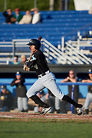 West Virginia Black Bears right fielder Bligh Madris (17) grounds into a double play during a game against the Batavia Muckdogs on August 5, 2017 at Dwyer Stadium in Batavia, New York.  Batavia defeated Williamsport 3-2.  (Mike Janes/Four Seam Images)