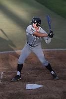 Brooks Lee (22) of the Cal Poly San Luis Obispo Mustangs bats during a game against the UC Santa Barbara Gauchos at Caesar Uyesaka Stadium on April 30, 2021 in Santa Barbara, California. (Larry Goren/Four Seam Images)