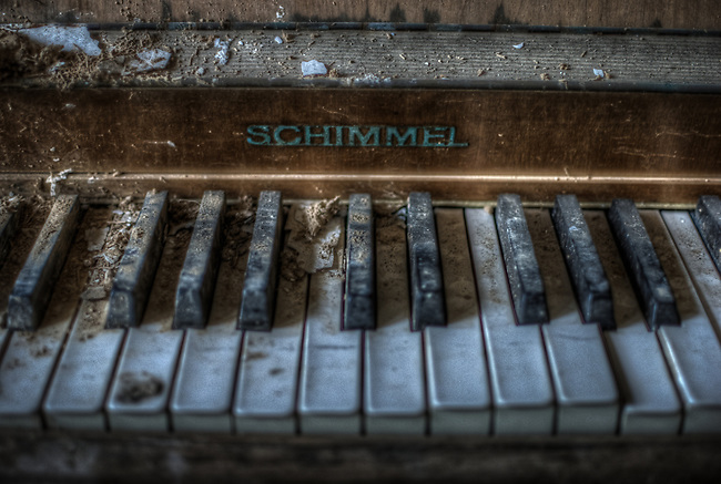 Piano in old hotel