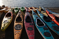 Colorful Kayaks, Lake Sammamish State Park, Issaquah, Washington State, WA, America, USA.