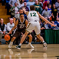 18 December 2018: St. Bonaventure University Bonnies Guard Jalen Poyser, a Junior from Malton, Ontario, in double-overtime action against the University of Vermont Catamounts at Patrick Gymnasium in Burlington, Vermont. The Catamounts defeated the Bonnies 83-76 in a double-overtime NCAA DI game. Mandatory Credit: Ed Wolfstein Photo *** RAW (NEF) Image File Available ***
