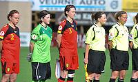Belgium A - North Korea friendly game at Koksijde KVV Stadium - Belgie - Noord Korea : .Stefanie Van Broeck , Lynn Senaeve , Heleen Jaques , Joline Delcroix en Leen Martens.foto David Catry / Joke Vuylsteke / Vrouwenteam.be