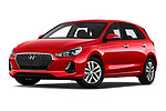 Stock pictures of low aggressive front three quarter view of a 2018 Hyundai i30 Twist 5 Door Hatchback