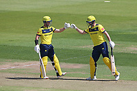 D'Arcy Short and James Vince of Hampshire enjoy a useful partnership during Hampshire Hawks vs Essex Eagles, Vitality Blast T20 Cricket at The Ageas Bowl on 16th July 2021