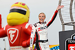 Christina Davidson appears at the driver introductions before the Verizon Indy Car Firestone 600 race at Texas Motor Speedway in Fort Worth,Texas.