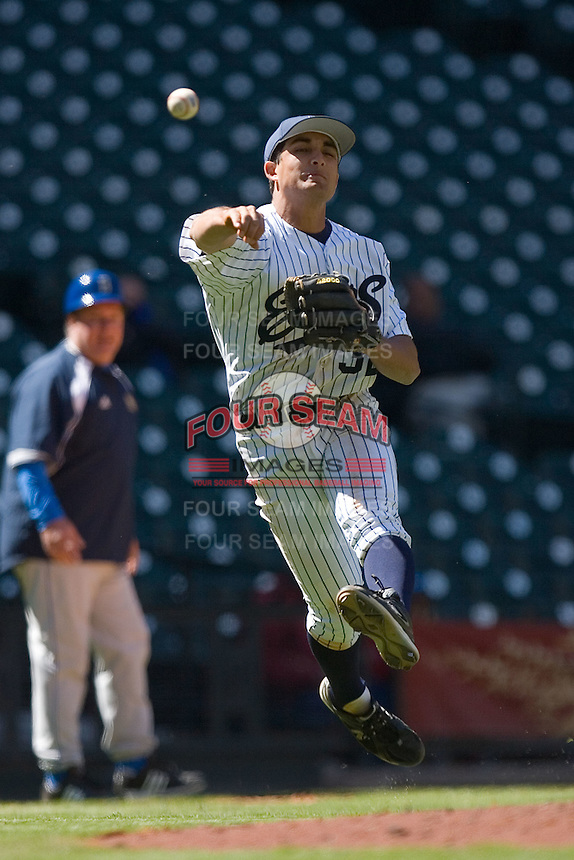 Third baseman DJ Crumlich #32 of the UC-Irvine Anteaters makes an off-balance throw to first base versus the UCLA Bruins  in the 2009 Houston College Classic at Minute Maid Park March 1, 2009 in Houston, TX.  The Anteaters defeated the Bruins 7-4. (Photo by Brian Westerholt / Four Seam Images)