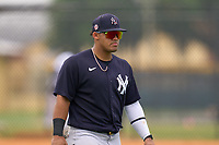 New York Yankees outfielder Jasson Dominguez (25) during an Extended Spring Training game against the Detroit Tigers on June 19, 2021 at the Joker Marchant Stadium in Lakeland, Florida.  (Mike Janes/Four Seam Images)