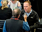 LOUISVILLE, KY - MAY 01: Trainer Chad Brown talks with a member of the media during the Kentucky Derby Post Draw at Churchill Downs on May 1, 2018 in Louisville, Kentucky. (Photo by Scott Serio/Eclipse Sportswire/Getty Images)