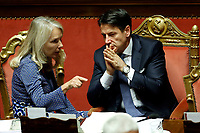 Julia Unterberger and Giuseppe Conte<br /> Rome September 10th 2019. Senate. Discussion and Trust vote at the new Government. <br /> Foto  Samantha Zucchi Insidefoto