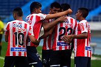 BARRANQUILLA - COLOMBIA, 22-09-2018: Los jugadores de Atlético Junior celebran el gol anotado a La Equidad durante partido de la fecha 11 entre Atlético Junior y La Equidad por la Liga Aguila II 2018, jugado en el estadio Metropolitano Roberto Meléndez de la ciudad de Barranquilla. / The players of Atletico Junior celebrate a scored goal to Deportivo Independiente Medellin during a match of the of the 11th date between Atletico Junior and La Equidad, for the Liga Aguila II 2018 at the Metropolitano Roberto Melendez stadium in Barranquilla city, Photo: VizzorImage  / Alfonso Cervantes / Cont.