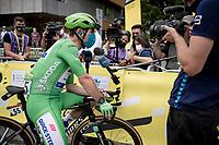 Green Jersey / points leader Mark Cavendish (GBR/Deceuninck - Quick Step) interviewed at the race start in Albertville<br /> <br /> Stage 10 from Albertville to Valence (191km)<br /> 108th Tour de France 2021 (2.UWT)<br /> <br /> ©kramon